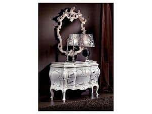 3445 MIRROR, Hand carved mirror, classic, lacquered finish