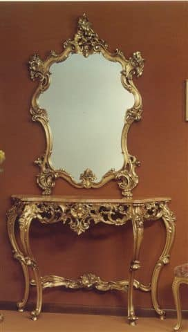 565 MIRROR, Mirror with carved frame, with finishing in gold leaf