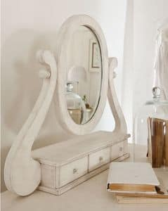 Amedeo mirror, Table-top mirror, with drawers, inlaid
