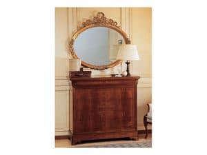 Art. 2170/0 '800 Francese Luigi Filippo, Elegant oval mirror, frame in gold leaf finish, hand carved