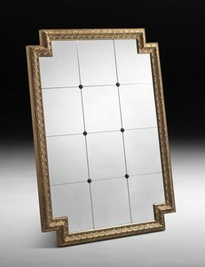 Art. 653 mirror, Large mirror with carved frame, gold leaf finish