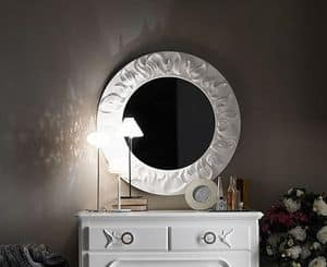 Art. AX515, Mirror with carved frame, round