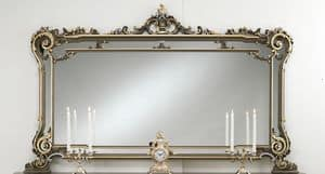 Art. L-926 K, Mirror in lacquered wood, flower decorations, classic style