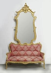 COUCH WITH MIRROR ART. SD 0012, Sofa with mirror for entrance in classic luxury style