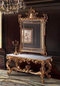 F463, Gilt mirror and console, for classic Halls