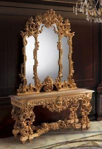 F770, Console and mirror golden, classic luxurious style