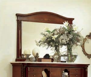 Gardenia mirror, Rectangular mirror in carved wood