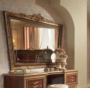 Giotto dressing table, Mirror in the shape of inverted trapezoid, with frame