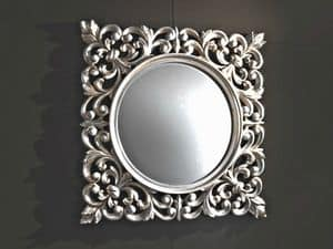 Ibis Silver mirror, Wall mirror, carved frame, silver finish