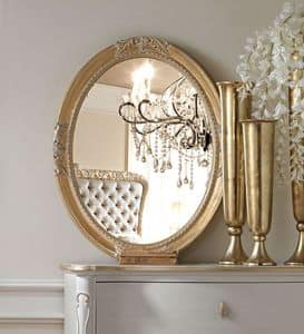 Live 5307 mirror, Oval mirror, with frame in carved wood, for classic style furnishing