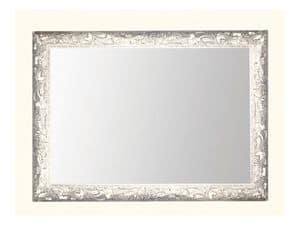Wall Mirror art. 104, Mirror with frame in wood decorated with grape leaves