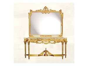 Wall Mirror art. 117/c, Luxury mirror with frame made of decorated wood