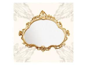 Wall Mirror art. 120, Mirror with wooden frame, late baroque style