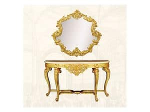 Wall Mirror art. 151, Mirror with decorated frame, sinuous form