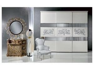 AR14 Novecento lacquered, Classic wardrobe lacquered white with silver leaf decorations