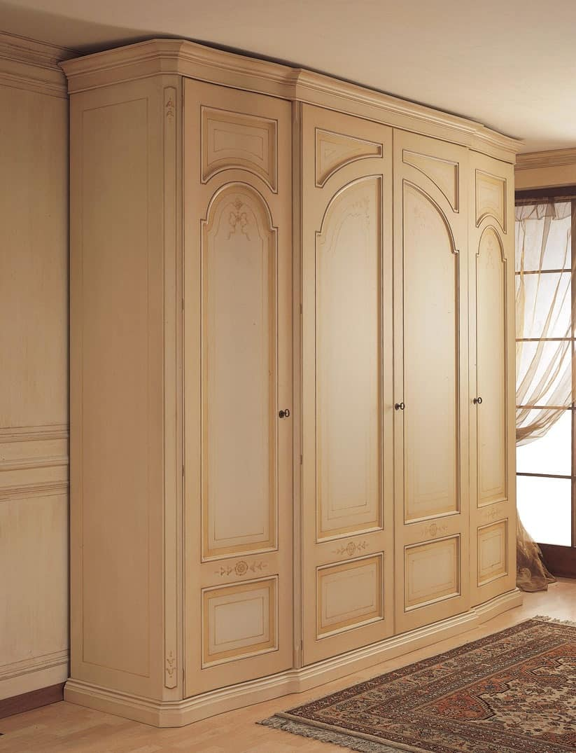 Art. 1130 Luxor, Wardrobe with curved side doors, for classical bedroom