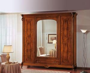 Art. 251/C, Walnut wardrobe with mirror ideal for classic bedrooms