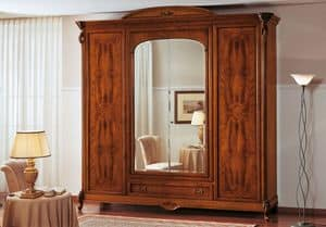 Art. 251/D, Wardrobe with 4 doors and center drawer with inlays