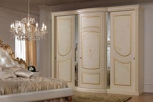 Aurora Wardrobe with mirrors, Wardrobe in classic style, with decorative mirrors