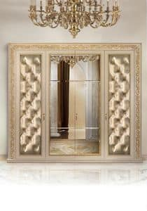 Camelia C/647, Wardrobe 4 doors padded quilted and mirror in the center