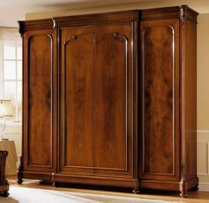 D'Este wardrobe wood door, Luxury walnut wardrobe, with 4 doors, wax finish