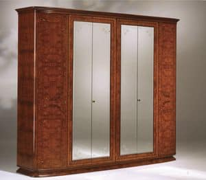 Flory wardrobe, Ash olived wardrobe with 6 doors and mirrors