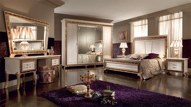 luxury classic wardrobe lacquered pearl white with gold decorations idfdesign. Black Bedroom Furniture Sets. Home Design Ideas