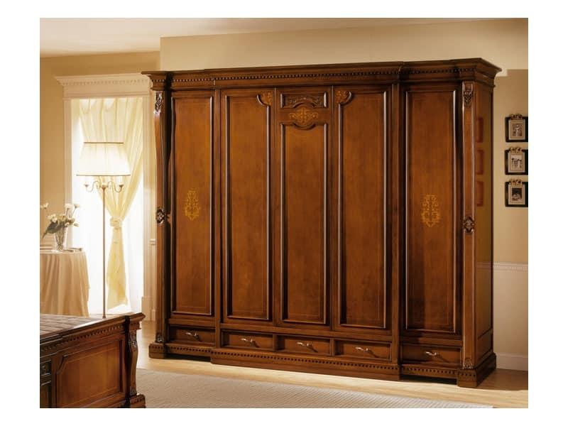 Luxurious wardrobe with 5 doors, for classic villas | IDFdesign