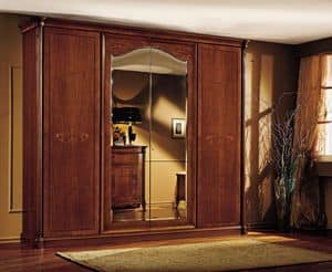 Roma wardrobe, Luxury wardrobe in real wood walnut, with carvings and inlays made by hand