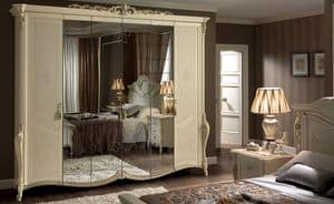 Tiziano wardrobe, Classic wardrobe 6 doors, with mirror, ideal for bedrooms of luxury