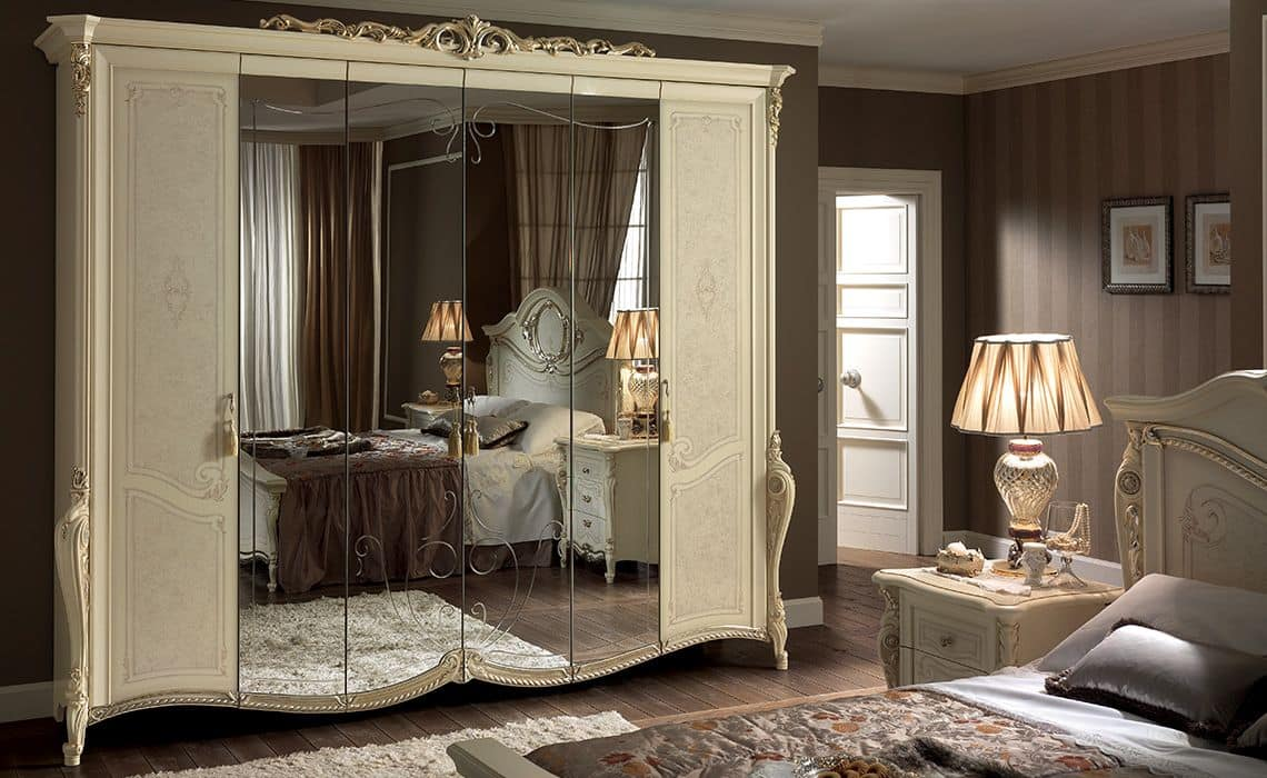 Classic Wardrobe 6 Doors With Mirror Ideal For Bedrooms