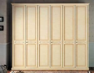 Vega wardrobe, luxury classic lacquered wardrobe with 6 doors