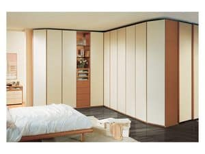 Wardrobe 26, Spacious corner wardrobe for bedroom, visible elements, lacquered ivory doors