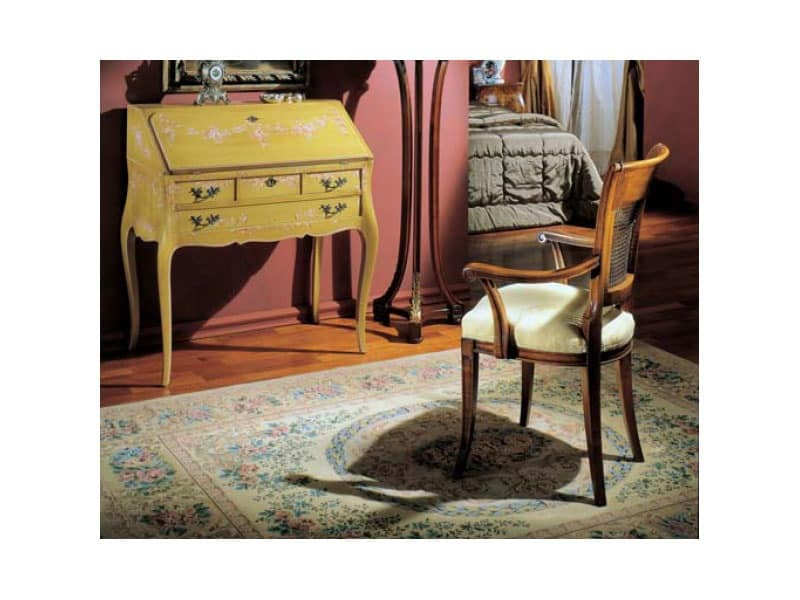 3255 DROP-FRONT DESK, Wooden desk decorated by hand, luxury classic