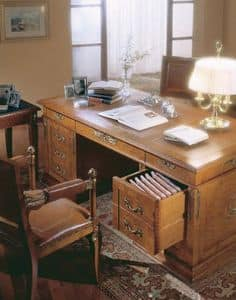 355, Classic writing desk in burr ash, for luxury office