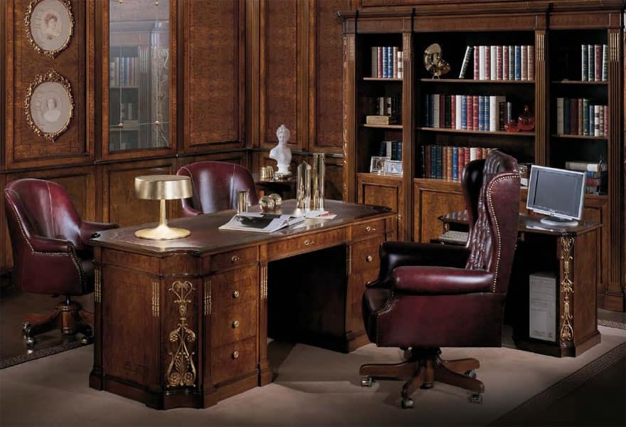 Writing desk with leather top classic luxury idfdesign - Mobili luxury design ...