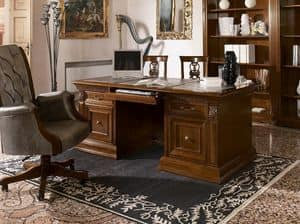 Art. 1740 Vivaldi, Luxury classic writing desk, in carved wood, for office