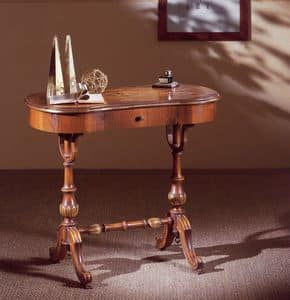 Art. 213, Writing desk in hand-carved wood, with drawer, classic style