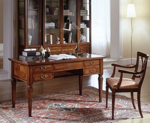 D 401, Classic cherry wood desk, inlaid top, 5 drawers