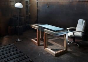 Elle Desk, Wooden and crystal desk, for Executive office