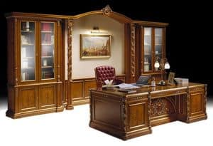 Ginevra office, Luxury classic office furniture, inlaid bookcase and desk