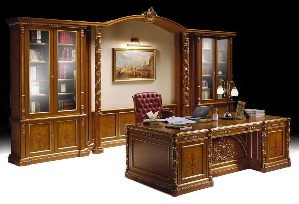 Ginevra Office Luxury Classic Office Furniture Inlaid Bookcase And