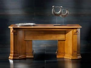 Victoria Art. 03.801, Cherry desk with 2 pull-out shelves and leather top