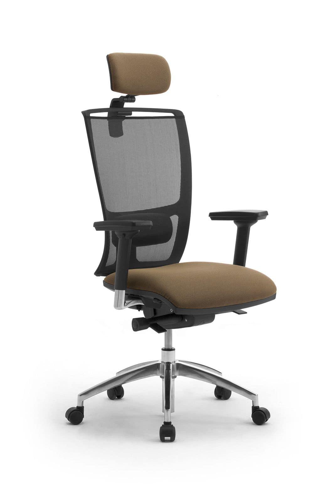 office chair with headrest, mesh backrest   idfdesign