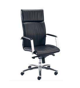 Iris H 507, Office chair with high backrest, leather upholstery