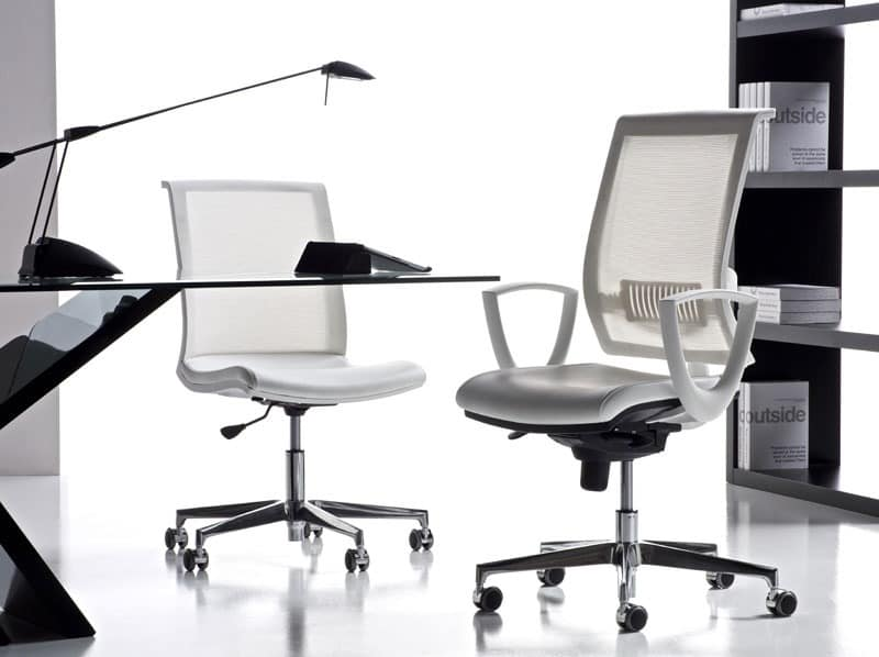 Office Chair With Armrests And Wheels Mesh Back Idfdesign