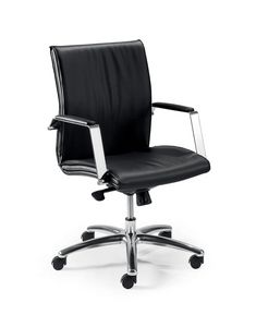 UF 508 B, Swivel chair with wheels for office, wooden shell