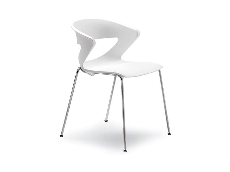 Kicca, Metal chair, stackable, perforated back