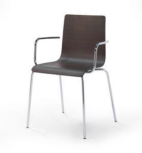 Fibra P, Stackable metal chair, wood veneer shell