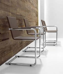 H5 S, Office armchair made of metal and leather, with armrests